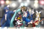 aqua_hair bass_guitar blonde_hair blue_eyes blue_hair bottle casual drum earrings fingerless_gloves gloves guitar hair_ornament hair_ribbon hairclip hatsune_miku hirabaru_kenji instrument jewelry kagamine_len kagamine_rin kaito long_hair meiko microphone microphone_stand necktie ribbon scarf sg short_hair skirt smile sweat tele(guitar) thigh-highs thighhighs twintails very_long_hair vocaloid yellow_eyes zettai_ryouiki