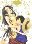 bird black_hair blush boa_hancock breast_press breasts closed_eyes cocotri dirty dove earrings happy hat heart height_difference hug huge_breasts jewelry long_hair monkey_d_luffy one_piece open_mouth scar smile straw_hat sweat very_long_hair