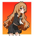 1girl aisaka_taiga blush brown_eyes brown_hair ginmaru long_hair school_uniform serafuku toradora!