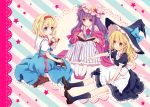 3girls :o alice_margatroid apron blonde_hair blue_eyes book boots border bow braid capelet crescent dress hair_bow hat hat_ribbon headband kirisame_marisa kneehighs lace long_hair looking_at_another looking_away mob_cap multiple_girls open_book open_mouth outstretched_arm patchouli_knowledge petticoat pointing purple_hair ribbon robe sash shanghai_doll short_hair short_sleeves simple_background single_braid sitting skirt skirt_set star striped striped_background torii_sumi touhou very_long_hair violet_eyes waist_apron wariza witch_hat yellow_eyes