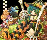 aqua_hair candy cat checkerboard_cookie cookie cross crossed_legs detached_sleeves eyepatch food food_themed_clothes fork halloween hat hatsune_miku key kutenriri lollipop long_hair oversized_object pumpkin ribbon shaped_lollipop sitting swirl_lollipop thigh-highs thighhighs twintails vocaloid witch_hat zettai_ryouiki