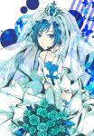 blue_eyes blue_hair bridal_veil bride crossdress crossdressing crown dress elbow_gloves flower gloves kaito kutenriri male rose smile solo trap veil vocaloid wedding_dress white_dress