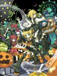animal_ears aqua_eyes armor back-to-back back_to_back bell bell_collar blonde_hair boots bunny cat_ears collar fork guitar hair_ornament hair_ribbon hairclip halloween hat instrument jingle_bell kagamine_len kagamine_rin keyboard keyboard_(instrument) knee_boots kutenriri mummy pumpkin rabbit ribbon short_hair siblings smile tail twins vocaloid wings witch_hat zombie