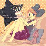 birthday blonde_hair blue_eyes bow cake eating feet food fork hair_bow hair_ribbon kagamine_rin moyashi_nabe pastry pillow plate ribbon short_hair sitting skirt vocaloid