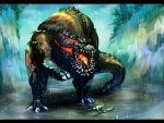 armor blood broken broken_weapon claws deviljho drooling fangs masayoshi monster monster_hunter open_mouth rain spikes sword tail weapon