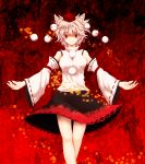 1girl animal_ears bare_shoulders breasts detached_sleeves hat highres inubashiri_momiji looking_at_viewer mokkei pom_pom_(clothes) red_eyes short_hair silver_hair smile solo tokin_hat touhou wolf_ears
