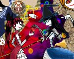 2girls akemi_homura apple bare_shoulders black_hair clara_dolls_(madoka_magica) detached_sleeves food fruit hat highres homulilly long_hair magical_girl mahou_shoujo_madoka_magica mahou_shoujo_madoka_magica_movie multiple_girls polearm ponytail redhead sakura_kyouko shaft solid_circle_eyes spear spoilers weapon witch_(madoka_magica) witch_hat