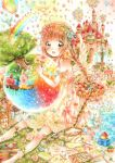 1girl absurdres artist_request balloon bare_shoulders bird blush brown_hair castle chicken dress elephant fountain green_eyes head_wreath highres hot_air_balloon letter long_hair original rabbit rainbow smile socks solo tagme tree twintails water wings
