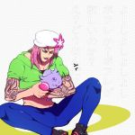 1boy black_lipstick crossover diavolo espurr esu_(b_r9) flower hat hat_flower jojo_no_kimyou_na_bouken lipstick long_hair makeup midriff pink_hair pokemon pokemon_(creature) pokemon_(game) pokemon_xy tattoo