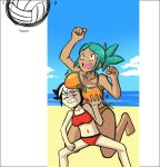 2girls aqua_hair barefoot beach_volleyball black_hair blush breast_envy breast_grab breast_rest breasts breasts_on_head cerebella_(skullgirls) feng_(skullgirls) front-tie_bikini front-tie_top large_breasts long_hair multicolored_hair multiple_girls ponytail shadowbug_x short_hair skullgirls small_breasts swimsuit tankini two-tone_hair volleyball white_hair