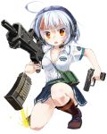1girl ahoge assault_rifle bag breasts cleavage collarbone g36 goggles gun h&k_usp handgun headset heckler_&_koch nanaroku_(fortress76) open_mouth original pleated_skirt rifle school_uniform shirt short_sleeves silver_hair simple_background skirt solo squatting weapon white_background