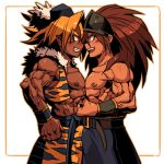 2boys belt blonde_hair brown_eyes dark_skin duran fang grin hat kevin long_hair looking_at_another male multiple_boys muscle open_mouth pointy_ears seiken_densetsu seiken_densetsu_3 shirtless short_hair smile tiger_print veins vest yellow_eyes