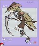 1girl brown_hair grim-evilnov kabutops long_hair personification pokemon sickle solo