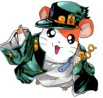 animal artist_request chain coat cosplay crossover hamster hamtaro hamtaro_(hamtaro) happy hat jojo_no_kimyou_na_bouken kuujou_joutarou kuujou_joutarou_(cosplay) looking_at_viewer lowres no_humans open_mouth oversized_clothes simple_background smile source_request white_background
