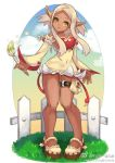 1girl bare_shoulders breasts brush dark_skin detached_sleeves dress kinippuu mary_janes paintbrush payot pigeon-toed pointy_ears shoes short_dress silver_hair solo strapless_dress thigh_pouch wakfu yellow_eyes