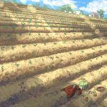 bird boots crops dress elona farm field footprints green_hair hat low_ponytail red_dress rueken rueken's_elona_player_character seed straw_hat unconscious