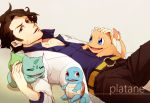 1boy black_hair bulbasaur charmander facial_hair fley3black labcoat platane_(pokemon) pokemon pokemon_(game) pokemon_xy squirtle squirtly stubble