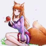 1girl animal_ears bangs barefoot blunt_bangs breasts brown_hair cape closed_mouth collarbone danielle_brindle dress eyebrows_visible_through_hair fang food fruit grey_background highres holding holding_food holding_fruit holo long_hair long_sleeves looking_at_viewer nail_polish off-shoulder_dress off_shoulder purple_dress red_cape red_eyes red_nails short_dress sitting small_breasts smile solo spice_and_wolf straight_hair tail wolf_ears wolf_tail
