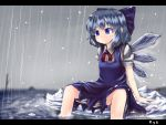 1girl arm_support artist_name blue_eyes blue_hair blush bow cirno dress dress_shirt hail hair_bow highres ice ice_wings kys_(k-k2) letterboxed looking_down partially_submerged puffy_short_sleeves puffy_sleeves rain shirt short_hair short_sleeves sitting sitting_on_rock smile solo touhou wading water wings