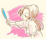 1girl brown_hair jojo_no_kimyou_na_bouken mirror ponytail solo tsuji_aya vldksltlah88 younger