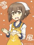 1girl anchor_symbol apron bandana brown_eyes brown_hair character_name commentary dumpling head_scarf jiaozi kantai_collection looking_at_viewer neckerchief open_mouth sailor_collar sailor_dress solo suzumura_kirie translated twitter_username wasabi yukikaze_(kantai_collection)