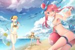 3girls ball beach beachball bikini blue_eyes breasts clouds food fruit fuuro_(pokemon) gastrodon hair_over_one_eye innertube kamitsure_(pokemon) long_hair multiple_girls ocean open_mouth pink_hair pokemon pokemon_(creature) pokemon_(game) pokemon_bw shirona_(pokemon) sky standing_on_one_leg sun swimsuit thigh_strap twintails watermelon white_bikini white_swimsuit xe-cox yellow_bikini
