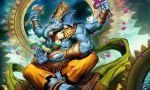 1boy axe blue_skin elephant ganesha genzoman green_eyes hinduism male muscle open_mouth original rope sitting solo weapon