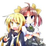 2girls :d ahoge blonde_hair blush brown_hair crescent crossed_arms gloves grey_skirt hair_ribbon kagerou_(kantai_collection) kantai_collection long_sleeves looking_at_viewer low_twintails multiple_girls neckerchief open_mouth pleated_skirt ribbon sailor_collar satsuki_(kantai_collection) school_uniform serafuku skirt smile sweat twintails vest violet_eyes w white_background white_gloves yellow_eyes yellow_ribbon yuuhi_alpha