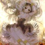 1girl arms_up chino_machiko long_hair looking_at_viewer original sepia solo