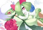 :o ario artist_name ass bouquet breast_press choker dated flower genesect hand_on_another's_chest horns jpeg_artifacts kirlia lying no_humans on_back open_mouth petals pink_eyes pokemon red_eyes red_rose rose roserade simple_background small_breasts smile text white_background