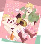1boy 1girl :d blonde_hair blue_eyes boots brother_and_sister casual copyright_name hair_ornament hairclip hoodie kagamine_len kagamine_rin kneehighs object_hug open_mouth p0ckylo panda short_hair siblings skirt smile striped striped_legwear stuffed_animal stuffed_panda stuffed_toy suki_kirai_(vocaloid) twins twintails vocaloid