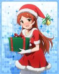 1girl bell blush brown_eyes brown_hair choker christmas gift gloves hat idolmaster idolmaster_million_live! long_hair looking_at_viewer official_art oogami_tamaki pantyhose santa_hat solo