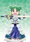 1girl armor cosplay excalibur fate/stay_night fate_(series) green_eyes green_hair koiwai_yotsuba parody quad_tails saber saber_(cosplay) solo yotsubato!
