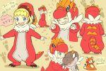1girl blonde_hair blue_eyes dedenne dedenne_(cosplay) dinosaur eureka_(pokemon) footprints grin mizuto_(o96ap) pajamas pokemon pokemon_(anime) pokemon_(creature) smile tagme tyrantrum tyrantrum_(cosplay) tyrunt