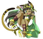 1girl ;d animal_ears anklet armlet bare_shoulders barefoot bastet_(p&d) black_hair blush bracelet cat_ears cat_tail cross-laced_legwear dark_skin earrings egyptian egyptian_clothes fang full_body green_eyes headpiece jewelry long_hair midriff necklace one_eye_closed open_mouth panties pantyshot paw_pose puzzle_&_dragons simple_background skirt smile solo tail takeya_yuuki tubetop underwear white_background white_panties white_skirt