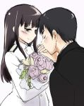1boy 1girl black_hair bouquet brown_eyes closed_eyes flower happy_tears hijikata_keisuke jewelry kiss military military_uniform mozu_(peth) no_eyepatch ring sakamoto_mio smile strike_witches tears uniform wedding_ring