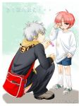 2boys bag blush boy candy cry dirt hiro_(usukawa) hurt piercing pink_hair sad scarf shota tears usukawa_(artist) yaoi