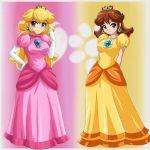 2girls blush cleavage crown dress nintendo princess_daisy princess_peach sigurdhosenfeld smile super_mario_bros.