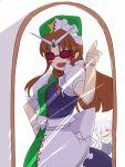 >:) >:d :d asymmetrical_clothes cosplay crazy glasses goggles gustav_(telomere_na) gusutafu hand_on_hip hat hong_meiling izayoi_sakuya izayoi_sakuya_(cosplay) kamen_rider kamen_rider_w knife maid maid_headdress mirror open_mouth parody reflection smile solo star thumbs_up touhou you_gonna_get_raped