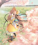 bag bonnet cherry_blossoms hanabana_tsubomi hanato_kobato hand_on_hat ioryogi kobato kobato. looking_at_viewer notenotenote open_mouth orange_hair pink_eyes ribbon smile stuffed_animal stuffed_toy