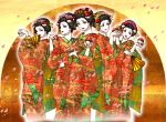 5girls cherry_blossoms fan geisha hair_ornament holding holding_poke_ball japanese_clothes kimono makeup micho multiple_girls poke_ball pokemon smile