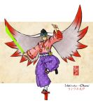 1boy \m/ blonde_hair eduardo_j._perez_m. energy_sword full_body geta hakama head_wings highres japanese_clothes mask mask_on_head ookami_(game) sheath sheathed solo standing_on_one_leg sword tabi tengu-geta tengu_mask ushiwakamaru weapon
