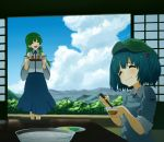 2girls :d bare_shoulders blue_hair blue_sky blush bust cabbie_hat chopsticks closed_eyes clouds cloudy_sky detached_sleeves dish dress eating food forest frog_hair_ornament glasses green_hair hair_bobbles hair_ornament hair_tubes hat indoors kawashiro_nitori key kochiya_sanae long_hair mountain multiple_girls nature open_mouth plate pocket ribbon scenery shiratama_(hockey) short_hair short_sleeves short_twintails sitting sky sleeves_rolled_up smile snake_hair_ornament touhou tray twintails