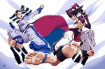 2girls baggy_pants barefoot black_hair breasts chae_lim crossover dougi feet flying_kick foreshortening glowing glowing_eye han_juri kicking king_of_fighters king_of_fighters_maximum_impact multiple_girls pants pov_feet scamwich short_twintails soles south_korean_flag street_fighter street_fighter_iv toes tomboy twintails under_boob violet_eyes