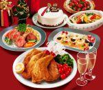 alcohol cake champagne champagne_glass christmas_cake food fruit grapes jiji_(kbj0225) making_of merry_christmas no_humans original photorealistic pork strawberry tomato turkey_(food)