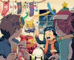 1girl 2boys :d blue_hair blush brown_hair casual christmas christmas_tree digimon digimon_tamers drunk goggles goggles_on_head guilmon hat hoodie li_jenrya makino_ruki matsuda_takato multiple_boys necktie necktie_on_head open_mouth ponytail redhead renamon santa_hat smile snot snow t_k_g terriermon