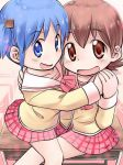 2girls aioi_yuuko blue_eyes blue_hair blush brown_eyes brown_hair holding_hands multiple_girls naganohara_mio naruse nichijou open_mouth school_uniform short_hair skirt smile yuri