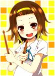 brown_eyes brown_hair chimuchimu drumsticks hairband k-on! school_uniform short_hair smile tainaka_ritsu