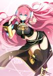 1girl blue_eyes boots character_name detached_sleeves eeru engrish headset jandy knee_boots long_hair long_skirt looking_at_viewer lying megurine_luka navel pink_hair pointing pointing_at_viewer ranguage shadow side_slit skirt smile solo thigh_boots thighhighs thighs very_long_hair vocaloid