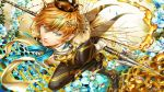 1boy bee blonde_hair blue_eyes crown dr. fairy fairy_wings flower honey honeycomb jewelry original personification polearm short_hair solo spear weapon wings